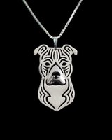 american staffordshire terrier - cartoon Boho Chic Alloy American Staffordshire Terrier necklace fashion pit bull pendant Silver gold two colors plated