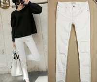 Wholesale Fashion narrow foot hole white stretch Slim temperament ladies jeans