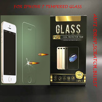 Wholesale For Iphone Plus Samsung S6 S7 NOTE5 LG V20 Tempered Glass Screen Protector mm D H with Gold paper package