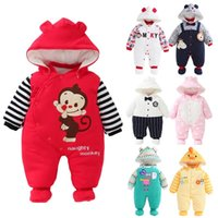 Wholesale 2016 Autumn Winter Clothes New Born Baby Clothes Thickness Warmer Baby Cute Clothes Purified Cotton Romper