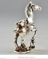 antique wood horse - decoration crafts Tibet Silver Chinese Old Collectable Handwork Carving Horse Statue Decor