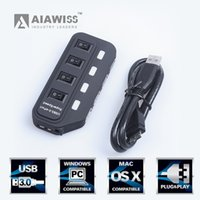 Wholesale AIAWISS Port USB Hub with Individual Power Switches and LEDs Black