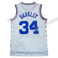 al por mayor de malla bordada por mayor-All star Charles Barkley # 34 jersey de la alta calidad de Barkley # 34 jersey venden al por mayor la insignia bordada 100% cosida que envía libremente