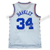 achat en gros de gros tulle brodé-All star Charles Barkley # 34 Jersey Maillot de haute qualité Barkley # 34 jersey en gros 100% cousu Logo brodé Livraison gratuite
