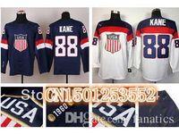 Wholesale Cheap White Patrick Kane USA Jersey Olympic Sochi Team USA Ice Hockey Jersey American Patrick Kane Jersey Blue