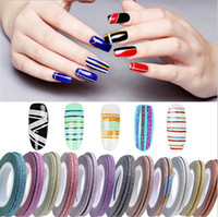 Wholesale 14 Colors Fashion Mixed Colors Nail Art Decorations Nail Sticker Striping Tape Line High Quality Stickers Manicure Stickers for Nails m ro