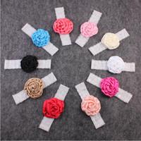 Precio de Bandas para la cabeza de encaje blanco para bebés-Encaje de flores Baby Girls Headband elástico blanco encaje de las niñas de pelo accesorio de satén Flower Girls pelo Wraps