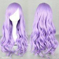 Wholesale 70 cm long purple lavender synthetic hair wigs beautiful lolita wigs anime wigs