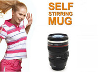 automatic tea - New Automatic Stirring cup mm Stainless Steel Thermos Camera Lens Cup Travel Coffee Tea Mug Car cup