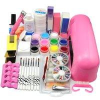 Wholesale New W UV Dryer Lamp Block Sanding False Nail Art Tips Gel Tools DIY Salon Kit