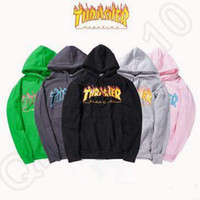Wholesale 5 Colors Thrasher Hoodies New Skateboard Pullover Hip Hop Fleece Hoodie Autumn And Winter HoodiesCCA5422