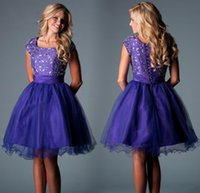 Cheap 2017 Short Regency Purple Plus Size Homecoming Dresses Scoop Cap Sleeves Crystal Beaded Tulle Corset Lace Up Short Prom Dresses