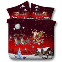 Wholesale 2017 Merry Christmas Santa Claus Bedding Sets Cotton d print bedding bedclothes duvet cover set