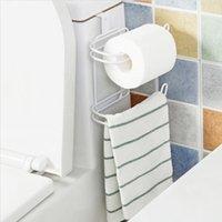 best towel holder - Multifunction Two layer Door Back Iron Toilet Tissue Holder Bathroom Kitchen Paper Towel Organizer Your Best Choice