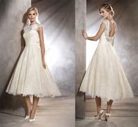 beach cape - vintage lace tea length wedding dress A line jewel neckline backless cape sleeves bridal wedding gowns