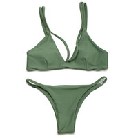 army strap - Hot Sexy Women Swimsuit Micro Bikini Set Bathing Suits With Halter Strap Swimwear Brazilian bottom Monokini
