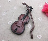 Wholesale room Christmas accessories set Wood grain violin Small handicraft is CM