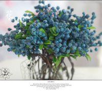 Wholesale 10pcs Decorative Blueberry Fruit Berry Artificial Flower Silk Flowers Fruits For Wedding Home Decoration Artificial Plants