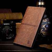 discount designer mens wallets 1hfe  Cheap Fashion Vintage PU Mens Leather Long Famous Brand Wallets Business  Credit Card Holders Designer Luxury
