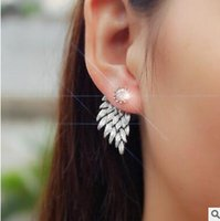 Wholesale Retro stereo angel wings stud earrings earrings Feather set auger alloy wear sharp earring stud four colors can choose