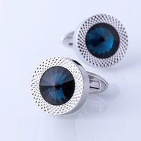 Wholesale Luxury Men Sea Blue Crystal Cufflinks High Quality Lawyer Groom Father Wedding Shirt Cuff Links Buttons