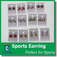 Wholesale Earring Softball Baseball Football Basketball Volleyball Soccer Rhinestone Crystal Bling for Girls Headbands Sports