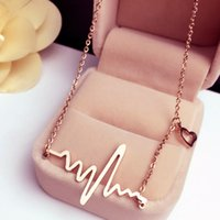 Wholesale Wave Heart Necklace Romantic Love Electrocardiogram Pulse Charm Pendant Necklace Heartbeat Necklace Silver Gold Women Jewelry