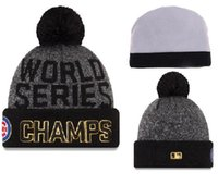 authentic caps - New Chicago Cubs Pom Beanies World Seris Champs Hotselling Sport Team Knitted Skullies Authentic Brand Winter Hats YD