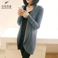 Wholesale Plus Size Spring Autumn Women Long Wool Knitted Cardigan Sweater Scarf Collar Long Sleeve Solid Casual Ladies Knitwear Coat