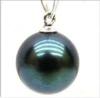 Wholesale 15 mm Black tahitian Shell pearl pendant k white gold