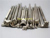 achat en gros de outils de cuir bricolage-10sets / lot Expédition rapide 20pcs / set Bricolage Selle de travail en cuir faisant des outils Set Sculpter des timbres d'artisanat en cuir Set Craft Tools
