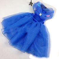 Wholesale Ice and Frozen Princess Belle Princess Dress Girl Blue Rapunzel Dress Sleeping Beauty Princess Aurora Flare Sleeve Dress for Party Birthday