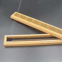 Wholesale Natural Bamboo Incense Holder Chinese Pattern Cuboid Base For Burning Less Than cm Sticks or Cones
