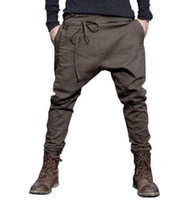 Wholesale men Harem Pants brand Casual Sagging pants men Trousers Drop Crotch Pant Men Joggers Feet pants hanging crotch