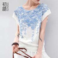 Acheter Imprimé floral t-shirts femmes-T-shirts en coton à manches courtes pour les femmes Vêtements Solid O-Neck T-shirt