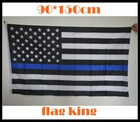 Wholesale Subdued Thin Blue Line Stripes American Flags grommets Police Cops Flags Black White Blue Flags