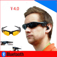 Wholesale Bluetooth Sunglasses Headset Sports Stereo WirelessA Sun Glasses Handsfree Music Call Headphone for iphone samsung HTC Smartphones