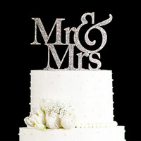 Wholesale Glitter Golden Silver Mr and Mrs Cake topper wedding Elegant Wedding Decorations Wedding Cake Decorations Gifts Favors Supplies