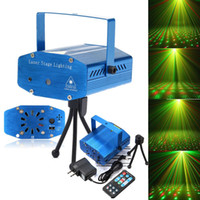 Wholesale AC100V V Sound Activation Stage Laser Star Starry Effects Projector Green Red Lights Blue Shell Color LIF_202