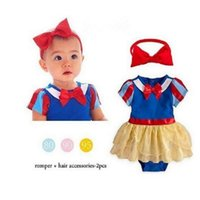 Wholesale Baby Girls Clothes Romper Skirts Headband Snow White Costume Kids Rompers Dress Snow White Bow Dress Baby Girl Lace Romper with Headband