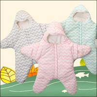 Gold Manos Cartoon Little Starfish Diseño Bolsa de dormir Niño Mantenga cálido clip de algodón espesamiento al aire libre lindo dulce ropa para bebés