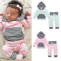 Wholesale Girls Clothing Spring Autumn Striped Cotton Long Sleeve Hoodies Pants Fashion Sets For Boys Baby Boy Clothes