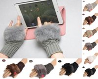 Wholesale Easily for use computer cm Winter Knitted Faux Rabbit Fur gloves Mittens outdoor Fingerless Gloves women colorful XMAS gifts