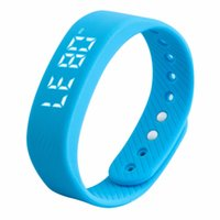 Wholesale D T5 LED Display Sports Gauge Fitness Bracelet Smart Step Tracker Pedometer blue In Stock Well Sell