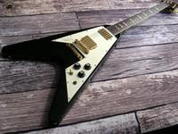 6 Strings arrow electric - Jimi Hendrix Hall of Fame White Pickguard Black Flying V Electric Guitar Limited Edition Split Diamond Arrow Inlay Vintage Kluson Tuners