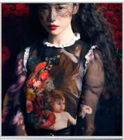angle sleeve - Plus S XL Blouse Autumn new runway Fashion Angle Oil Painting Print Lace Decoration Top Long Sleeve Designer Shirt