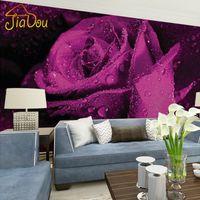 Wholesale Custom Mural Wallpaper D Stereo Non woven Murals Bedroom Living Room TV Background Purple Rose Flower D Photo Wallpaper Rolls