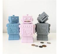 bath decor accessories - 3d Robot Toys Silicone Baby Kids Room Decor Nursery Children Cartoon Figure Toy Saving Bank Coin Box Money Bath Toys Water Toy Eco Friendly