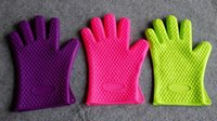Wholesale DHL free colors Heat Resistant Silicone Glove Cooking Baking BBQ Oven Pot Holder Mitt Kitchen