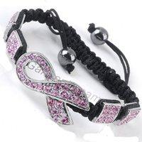 awareness ribbons colors - colors mixed pink ribbon awareness breast cancer symbol charm black cord braided shambala bracelet vintage USA jewelry